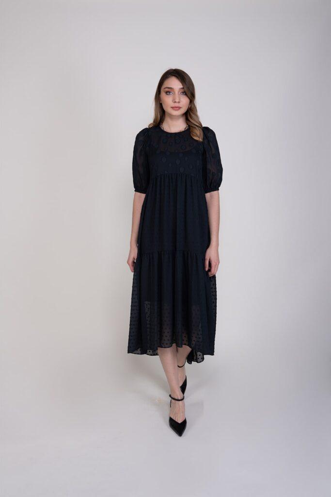 Sembol Giyim Rahat Kesim Şifon Kadın Elbise 9897