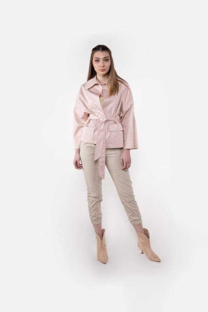 Sembol Giyim Katlama Kol Ve Kuşak Detaylı Kadın Ceket 4408